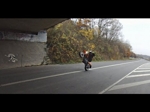 Wheelie practising with KTM Duke 690 & KTM SMC 640