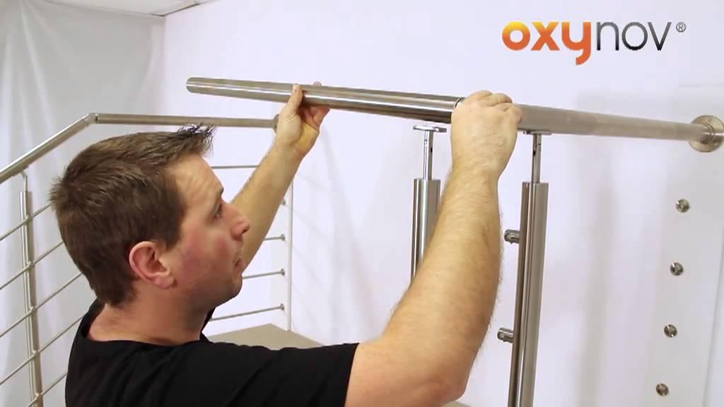 oxynov 18 installation garde corps poteaux a plat avec rampe et tube inox escalier youtube. Black Bedroom Furniture Sets. Home Design Ideas