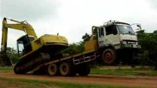 Amazing unloading excavator