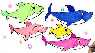 How to Draw Pinkfong Shark Family★핑크퐁 상어가족 그리기 ★손그림_예뿍드로우