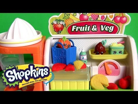 Shopkins Easy Squeezy Fruit & Vegetable Playset SURPRISE Basket Frozen Elsa Shopping at Supermarket