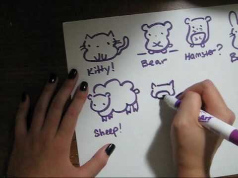 how to draw cute animals in a video