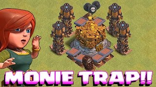 Clash Of Clans - TROLL DEFENSE w/ MAX LOOT vs. WEAK PLAYERS!!! (Metal gear Miner!!)