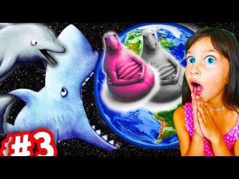 Tasty blue ЖДУН С ПОДРУЖКОЙ СНЕЖНЫЙ МЕДВЕ ШАР и ГОЛОДНАЯ РЫБА съела землю смешное видео для детей