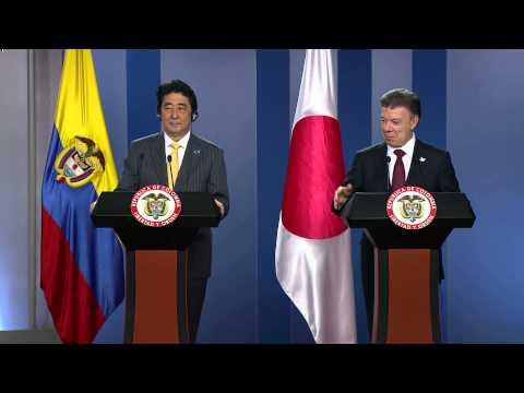 Presidente Santos al término de la visita a Colombia del Primer Ministro del Japón, Shinzo Abe