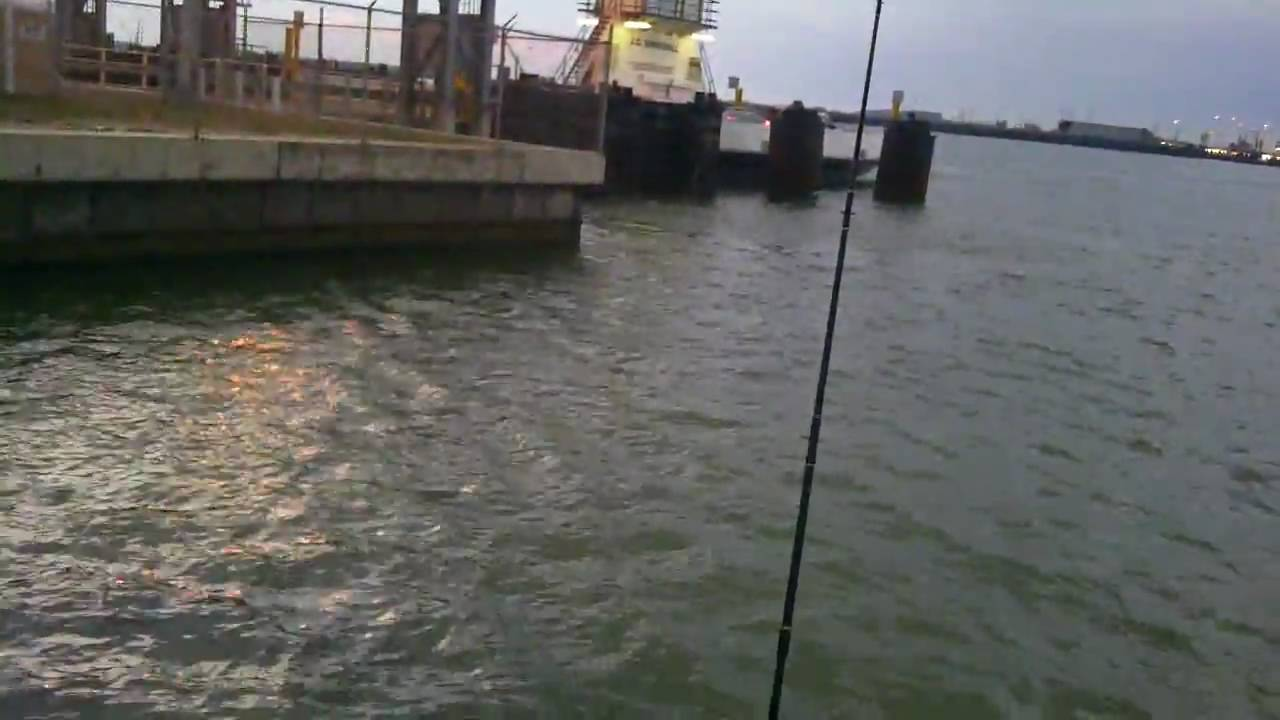 Fishing by the ferrys in port aransas tx youtube for Fishing report port aransas