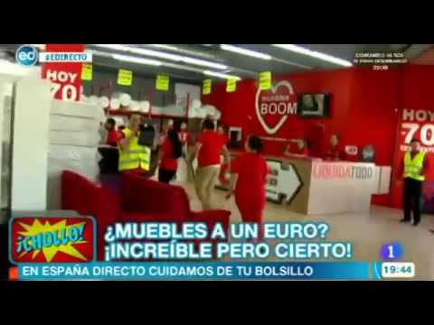 Muebles a 1 euro en muebles boom madrid julio 2014 youtube for Muebles boom madrid