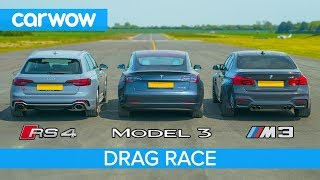 Tesla Model 3 P vs BMW M3 vs Audi RS4 - DRAG RACE, ROLLING RACE & BRAKE TEST