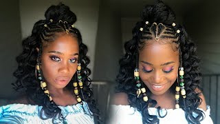 Fulani Inspired Braids with Beads feat Her Given Hair (Alicia Keys inspired) | MissKenK