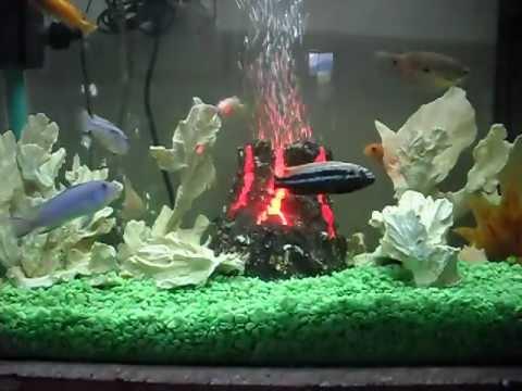 Volc n para acuario rgb youtube - Decoracion para peceras ...