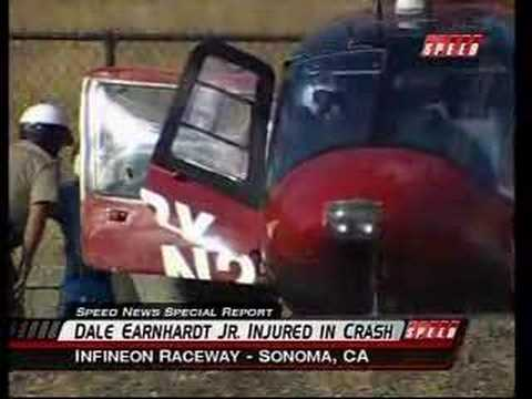Dale Earnhardt Jr ALMS Corvette Crash and Fire Infineon Video