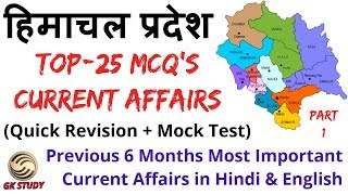 HP Current Affairs 2019 ! Previous 6 Month HP Current  Affairs ! GK STUDY !
