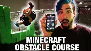 MINECRAFT PARKOUR OBSTACLE COURSE (AT TRAMPOLINE PARK)