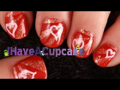 Valentine Nail Art  - Hearts and Rays
