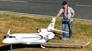 HUGE RC DASSAULT FALCON 8X SCALE MODEL TURBINE JET FLIGHT DEMONSTRATION / Jetpower Fair 2016