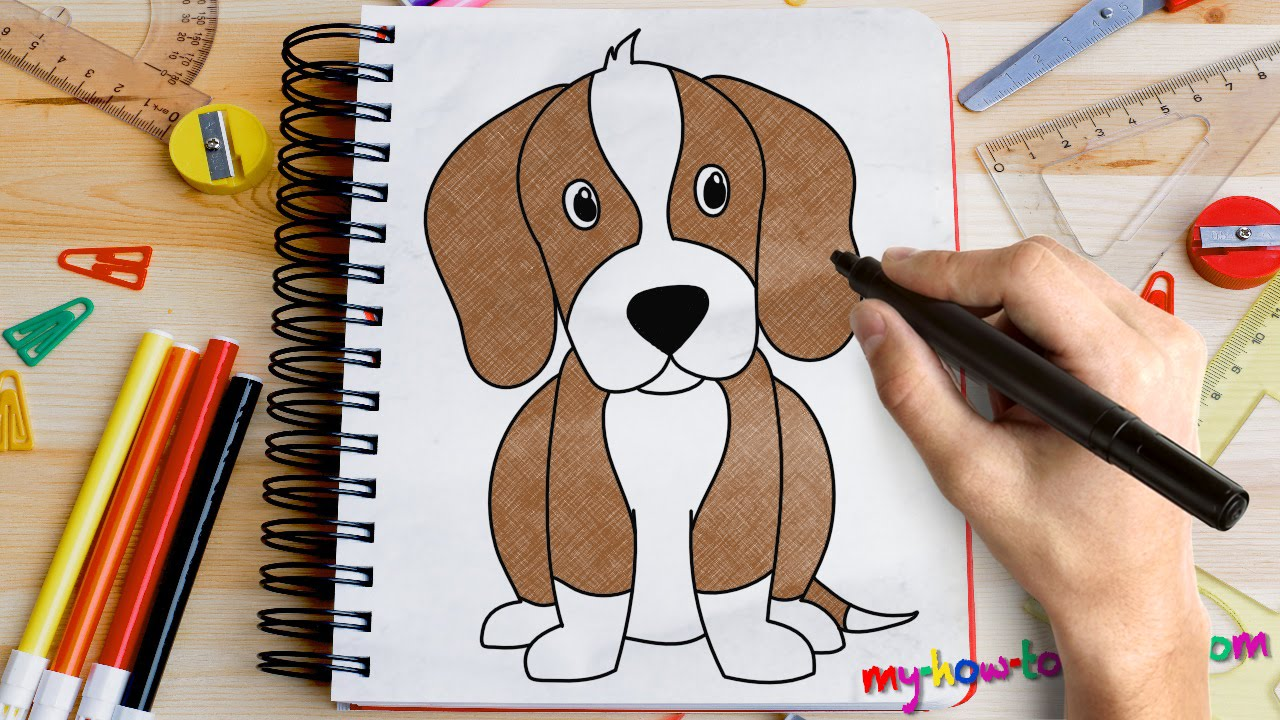 How To Draw A Beagle Easy Step By Step Drawing Lessons For Kids Watch To  Draw A Happy Cartoon Dog Jumping
