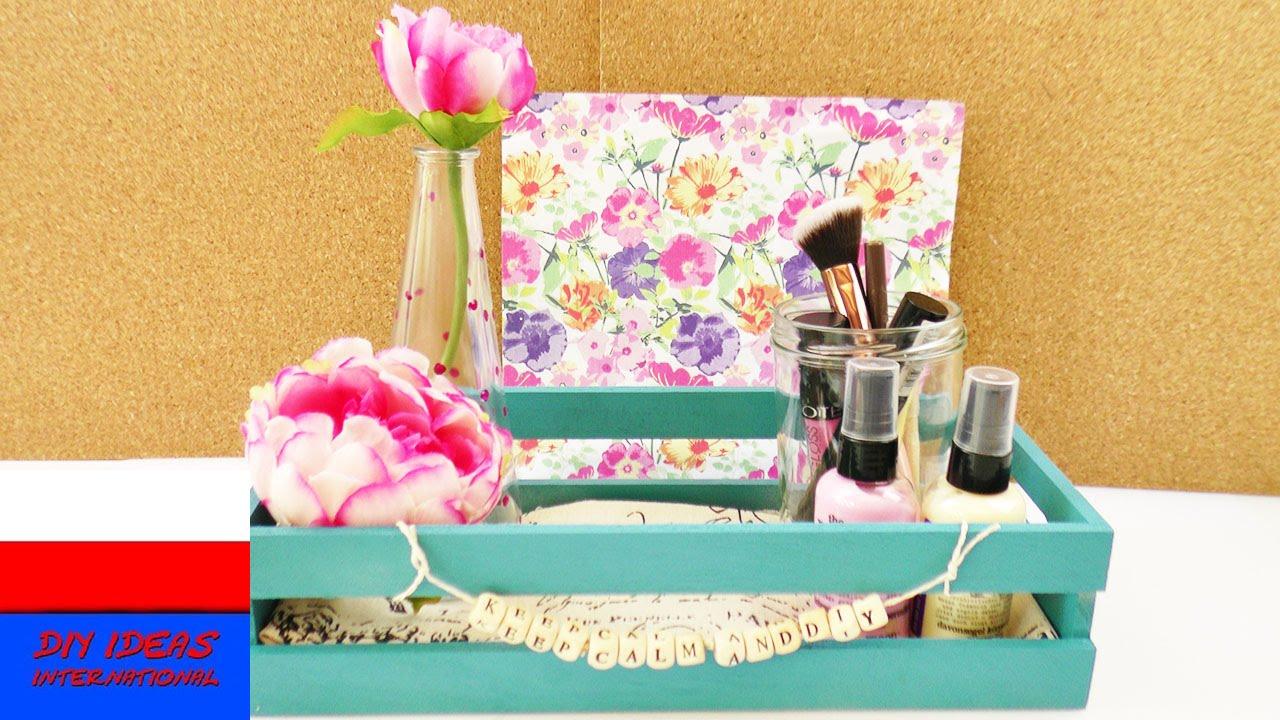 DIY dekoracja do pokoju | skrzynka na kosmetyki i drobne rzeczy | ozdabianie skrzynki
