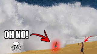 Running From Big & Scary Shorebreak Waves In Mexico!! (Tourists Vs Waves)