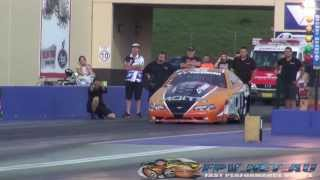 MOITS RACING OUTLAW 10.5 MUSTANG TYRE BLOW OUT AT 244 MPH SYDNEY DRAGWAY 21.11.2013
