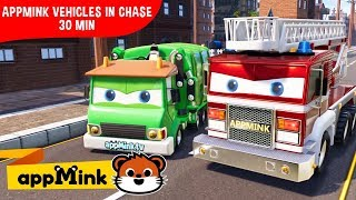 appMink car animation – Police car, crane truck, firetruck and Monster truck chase