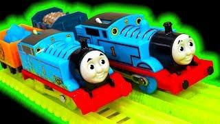 Thomas TrackMaster Glowing Mine Vs Classic Thomas Midnight Ride Glow In The Dark Toys