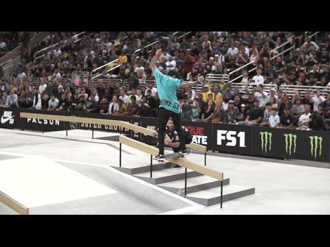Nyjah Huston Kickflip FS Boardslide // LA Supercrown 2016