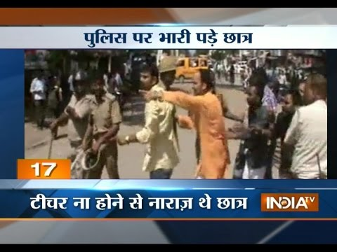 Unruly college students beat up police in UP