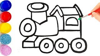 Glitter Toy Train drawing and coloring for kids, toddlers | Learning color | KIDS Craft Teacher