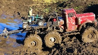 RC ADVENTURES - ATV used in Muddy Escape - 6x6 RC Truck gets Stuck
