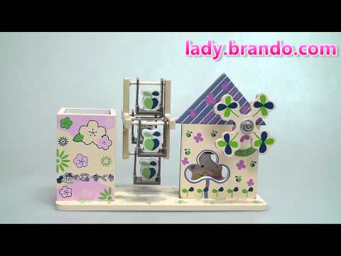 2-in-1 Woody Floral House Music Box w/ Pen Holder