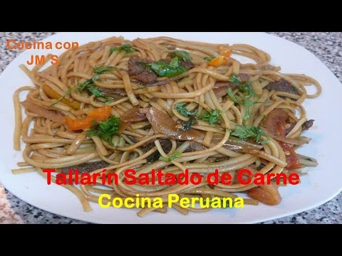 TALLARIN SALTADO DE CARNE - RECETAS - COCINA PERUANA