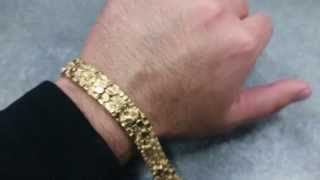 14K YELLOW GOLD MEN'S VINTAGE NUGGET BRACELET SOLID GOLD 7 INCHES LONG