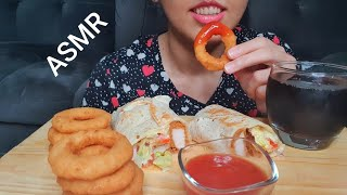 ASMR Chicken Wrap with Onions Rings Mukbang   collab with Marettaasmr  Eating Sounds ( no talking )