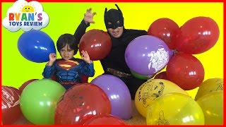SURPRISE TOYS GIANT BALLOON POP CHALLENGE with Ryan ToysReview