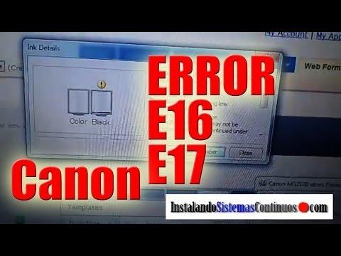 Como Resetear el error e16 e17 de canon mg2110 mg2120 mp230 mp280 mp250