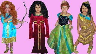 6 Halloween Costumes Disney Princess Anna Merida Pocahontas Rapunzel and Mother Gothel