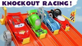 Cars Lightning Mcqueen Hot Wheels 4 Lane Knockout Racing with Mickey Mouse and funny Funlings TT4U