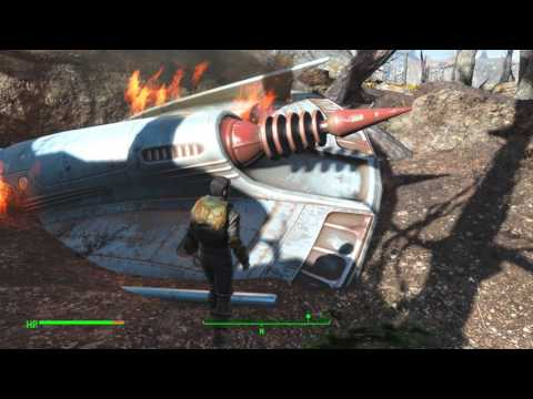 Fallout 4 UFO Crash landing and finding the Alien Blaster (part 2/2)