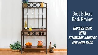 Bakers Rack Review - Bakers Rack with Stemware Hangers and Wine Rack
