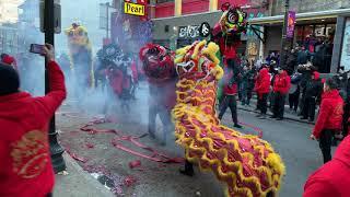 Chinatown Boston Lunar New Year Lion Dance parade 2019 春节 6 Firecrackers  múa lân / 舞狮