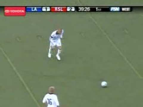 Beckham scores 2 goals against Real Salt Lake, to bring them back from a 2-nil score line to tie the game.