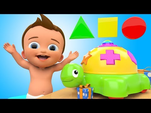 Learn Colors and Shapes with Baby Tortoise Toy Cartoon Animals 3D Kids Toddler Learning Educational