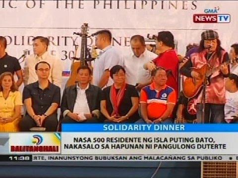 Nasa 500 residente ng isla puting bato, nakasalo sa hapunan ni Pangulong Duterte
