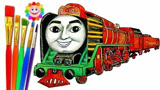 How to DRAW Train Thomas and Friends TRAINS Video for KIDS Coloring Pages Yong Bao