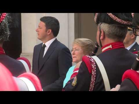 Arrivo a Palazzo Chigi del Presidente della Repubblica del Cile, Michelle Bachelet