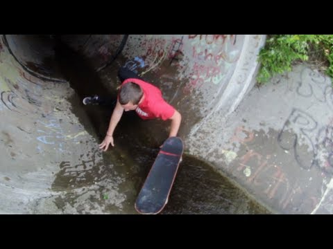 SKATER GETS PUSHED INTO NASTY CREEK!