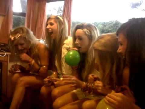 5 girls on laughing gas in a caravan