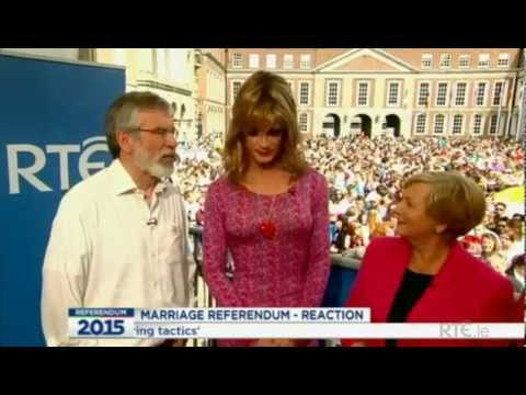 Same-sex Marriage Referendum Result - Gerry Adams, Panti Bliss & Frances Fitzgerald at Dublin Castle