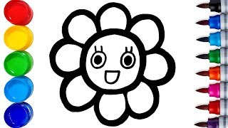 Learn How to Draw and Coloring Rainbow Flowers - For Kids - Learn Colors