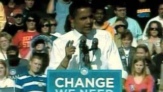 Barack Obama promises tax cut Des Moines, Iowa Oct, 2008